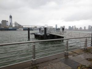 The water was high enough to lift this NY Water Taxi pier off of three of four piles.