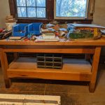 shop made workbench - top is unfinshed and cut in half, the long way